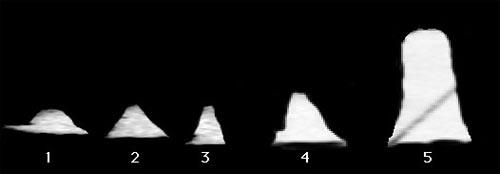 4 объекта похожи на пирамиды, а одна башня - на цилинд